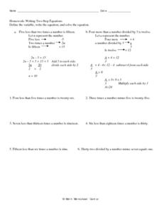 Homework:  Writing Two-Step Equations Worksheet