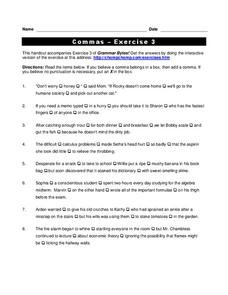 Commas Worksheet