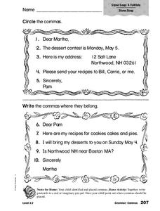 Comma worksheets for middle schoolers