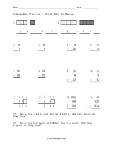 Independent Practice 1: Mixed Addition Review Worksheet