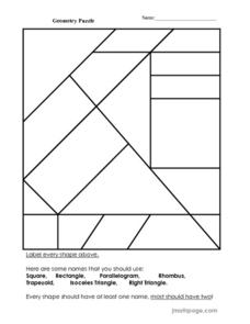 geometry puzzle worksheet for 2nd 3rd grade lesson planet. Black Bedroom Furniture Sets. Home Design Ideas