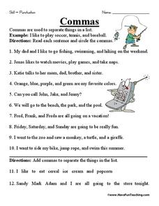 Commas Worksheet for 2nd - 4th Grade | Lesson Planet