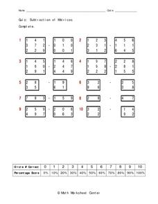 Subtraction of Matrices Worksheet
