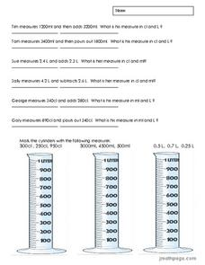 Metric Conversion of Liquid Measures Worksheet
