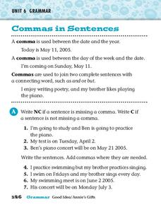 Commas in Sentences Worksheet