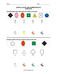 Shape, Color, and Number Match Worksheet