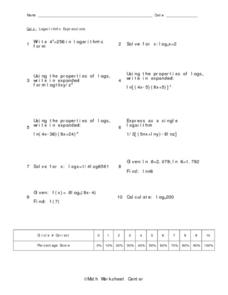 Logarithmic Expressions Worksheet