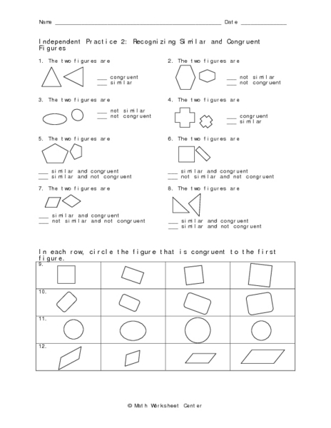 Independent Practice 2: Recognizing Similar and Congruent Worksheet