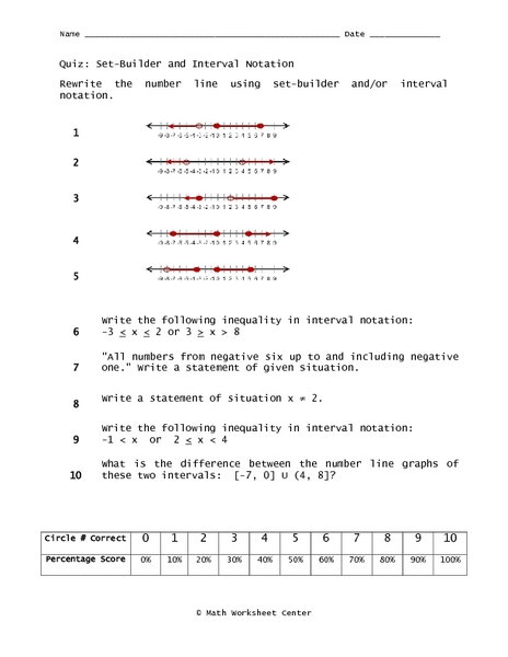 Set-Builder and Interval Notation 9th Grade Worksheet | Lesson Planet