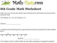 6th Grade Math Worksheet Worksheet