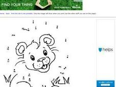 Lion Cub Dot to Dot  Numbers 1-20 Worksheet