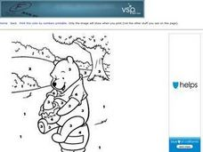 Winnie the Pooh with Hunny Color by Number Worksheet Worksheet