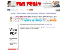 Fun Fonix: Say it. Write it 3 times. Make a sentence. Worksheet