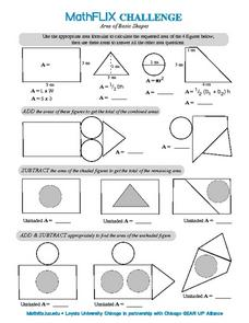 Countdown Challenge: Area of Basic Shapes Worksheet