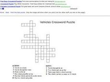 Vehicles Crossword Puzzle Worksheet