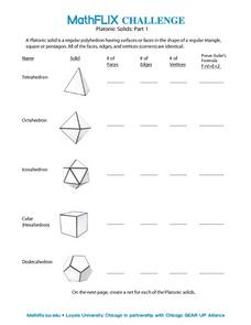 Countdown Challenge: Platonic Solids - Part I Worksheet