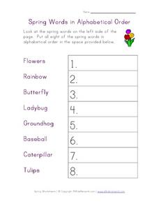 Spring Words in Alphabetical Order Worksheet