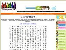 Space Word Search Worksheet