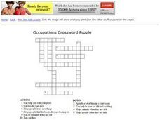 Occupations Crossword Puzzle Worksheet
