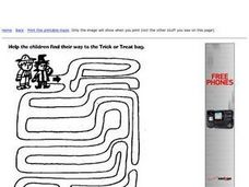 Trick-or-Treat Maze Worksheet