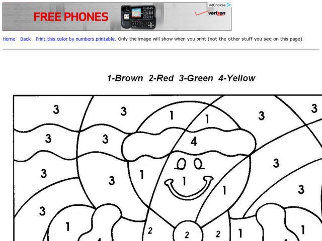 Color By Number-Gingerbread Man Worksheet For 1st Grade