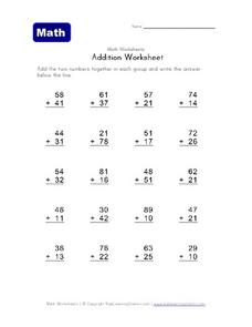 Math Worksheets Addition Worksheet: 2-Digit Numbers Worksheet
