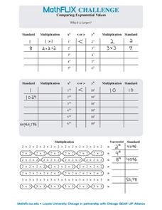 Comparing Exponential Values Worksheet