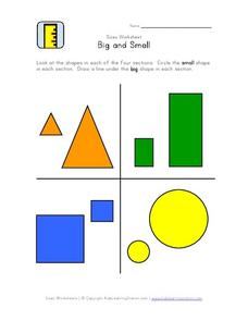 Big and Small Geometric Shape Size Comparison Worksheet
