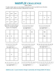 Why is This a Magic Square? Worksheet for 7th Grade | Lesson Planet