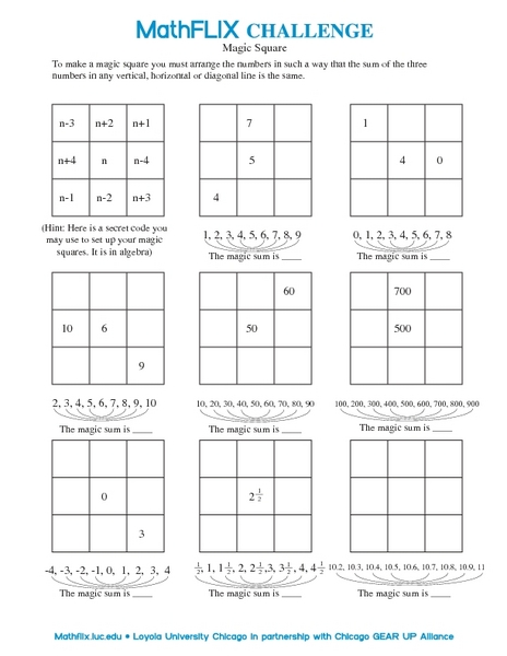 Why is This a Magic Square? 7th Grade Worksheet | Lesson Planet