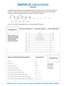 Fibonacci Number Patterns Worksheet