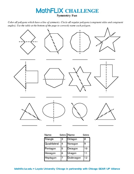 Symmetry Fun Worksheet for 7th Grade | Lesson Planet