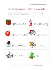 Christmas Words-Fill in the Vowels Worksheet