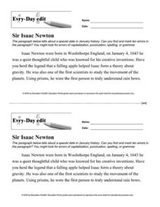 Every Day Edit - Sir Isaac Newton Worksheet
