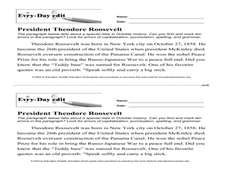 Every Day Edit - President Theodore Roosevelt Worksheet