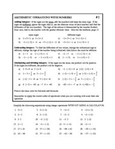 Arithmetic Operations With Numbers Worksheet