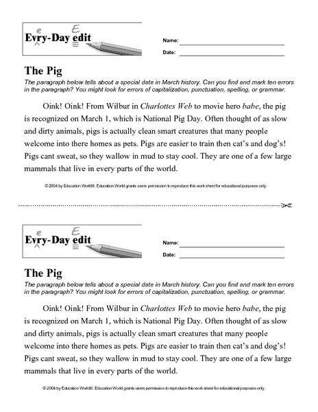7th Grade » Revising And Editing Worksheets 7th Grade - Free ...
