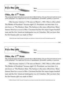 Every Day Edit - Ohio, the 17th State Worksheet