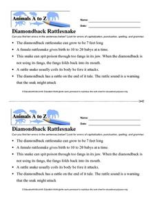 Diamondback Rattlesnake Worksheet