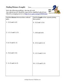 Finding the Distance in Length Worksheet