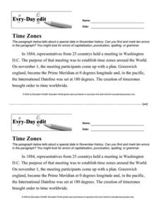 Every Day Edit - Time Zones Worksheet