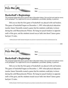 Every Day Edit - Basketball's Beginnings Lesson Plan