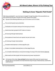 "Getting to Know ""Aquatic Fish Foods"" Worksheet"