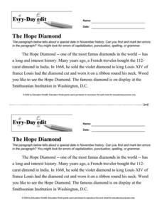 Every Day Edit - The Hope Diamond Worksheet