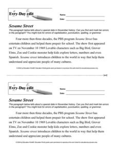 Every Day Edit - Sesame Street Worksheet