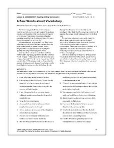 A Few Words about Vocabulary Worksheet