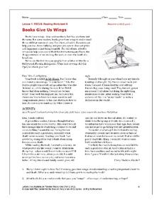 Books Give Us Wings Worksheet