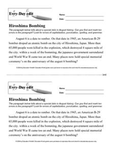 Every Day Edit - Hiroshima Bombing Worksheet