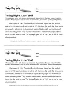 Every Day Edit - Voting Rights Act of 1965 Worksheet