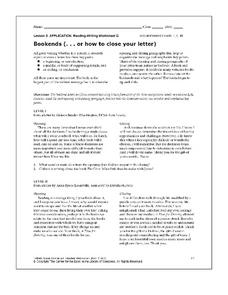 Bookends - How to Close Your Letter Worksheet